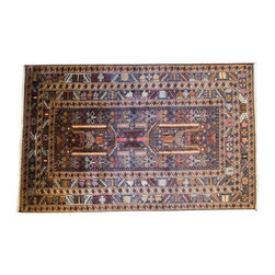 """Pre-owned Handmade Afghan Wool Rug - 3' 10"""" x 6' 3"""" - Just Reduced!    Ride this magic carpet......    This cool blue handmade wool rug was made in Afghanistan.  The increasing demand all over the world for Afghan rugs has stimulated a lively interest in this time-honored craft.  Not least of the charms of the Afghan carpet is that it is among the few products left the world today that is still made entirely by hand.  Carpet production in Afghanistan is from beginning to end a cottage industry, and for the buyer, represents good value in terms of wear, beauty and adaptability to surroundings. Afghan carpets are made of pure wool and all designs are rectilinear. Measures approximately 4' x  6.25'.    Perfect for an entry hall or landing."""