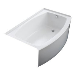 KOHLER - KOHLER K-1100-RA-0 Expanse Curved Integral Apron Bathtub with Right-Hand Drain - KOHLER K-1100-RA-0 Expanse Curved Integral Apron Bathtub with Right-Hand Drain in White