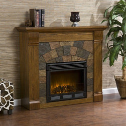 Wildon Home � - Blake Electric Fireplace - Beautifully Rustic, this Black fireplace exudes character and style with simulated aging, worm holes and small imperfections. The faux slate front has a stunning pattern of faux slate tiles that arch across the front creating a true masterpiece. Portability is just two of the reasons why our fireplace mantels are perfect for your home. Requiring no electrician or contractor for installation allows instant remodeling without the usual mess or expense. In addition to your living room or bedroom, try moving this fireplace to your dining room for romantic dinners or complement your media room with a ventless fireplace below your flat screen television. Use this great functional fireplace to make your home a more welcoming environment. Features: -Material: Oak and MDF with PB.-Earth tone slate.-No combustion, glass remains cool to the touch.-Long life LED lights.-Realistic flickering flame effect.-Consuming no wood or fossil fuels.-Plugs into standard wall outlet with 6' cord.-Uses about the same energy as a coffee maker.-Adjustable flame brightness control.-Safety thermal overload protector.-Produces zero emissions or pollutants.-Easy to use adjustable thermostat.-100% Energy efficient with low operating costs.-Remote control (2 AAA batteries required).-Eco friendly.-Accommodates up to a 42'' flat screen TV.-Mantel supports up to 85 lbs.-Beautiful media room accent.-Distressed: No.Specifications: -120V-60Hz, 1500W / 5000 BTUs, 12.5 Amp.-Tested to heat 1500 cubic feet in only 24 minutes.Dimensions: -Firebox front dimensions: 20'' H x 23'' W.-Overall Product Weight: 104 lbs.