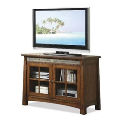 Riverside Furniture - Craftsman Home 45 in. TV Console in Americana Oak Finish - Front slate tile inlay