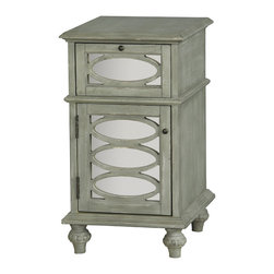 None - Hand Painted Distressed Washed Green and Mirrored Finish Accent Chest - This hand painted distressed washed green and mirrored finish accent chest features one functional doors and drawer for storage. The chest offers elegant antique brass finished hardware.