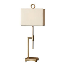 Carolyn Kinder - Carolyn Kinder Feldon Coffee Bronze Transitional Buffet Lamp X-1-34992 - Brushed coffee bronze plated metal. The rectangle hardback shade is a tan linen fabric.