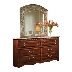 Standard Furniture - Standard Furniture Triomphe 47 Inch Mirror in Zinfandale Cherry - Inspired by the arts of the Renaissance period. Wood products with simulated wood grain laminates and faux marble laminates. Group may contain some plastic parts. French dovetail and roller side drawer guides. Cast metal bar pulls and knobs in a dull nickel color finish. Zinfandale cherry color finish with silver color tipping and simulated grey marble. Surfaces clean easily with a soft cloth.