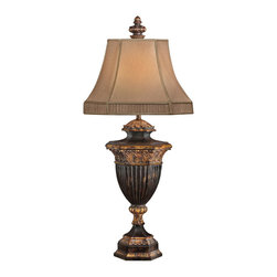 Fine Art Lamps - Castile Table Lamp, 230710ST - Put the accent on elegance with this lamp. Gold-leaf accents bring a warm glow to this antique iron accent lamp. A hand-sewn silk shade with decorative gathered trim tops things off beautifully.