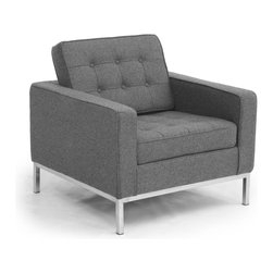 Kardiel Florence Knoll Style Arm Chair, Cadet Grey Tweed Cashmere Wool - The Florence Knoll Sofa, Chair and Loveseat is a design icon. The original design was conceived in 1956 by Florence Knoll, a world class architect and designer. It is a relatively simple design as it was originally meant to complement the classic innovations of Saarinen and Bertoia. The Knoll philosophy of furniture design solves practical and aesthetic design problems. The philosophy results in minimalist beauty, lasting durability and luxurious comfort in one complete package. It is well known that Knoll studied and collaborated with Mies Van Der Rohe. Knoll designed the classic trio using a durable stainless steel frame with minimal materials. Cubic cushions featuring compressed buttons in a purposeful and logical layout provide style and comfort to the supporting thin armed, minimalist frame. Do you notice the similarities in design philosophy to the Mies Van der Rohe's Barcelona Chair? The Knoll Sofa, Love and Chair is becoming even more popular as its minimalist yet functional de
