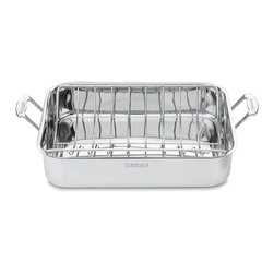 Cuisinart - Cuisinart Chef's Classic Stainless 16-inch Rectangular Roaster with Rack - An essential piece of cookware for family dinners,parties,and holiday celebrations,the Cuisinart Roasting Pan is designed to hold turkeys,chickens,and large roasts. Riveted stainless steel handles make placing the roasters safe and hassle free.