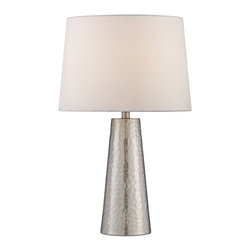 "Lamps Plus - Contemporary Silver Leaf Hammered Metal Cylinder Table Lamp - This attractive table lamp boasts a beautiful tapered metal cylinder base with a hammered texture in shimmering silver leaf finish. Elegantly topped by a white shade this design is a great way to add light and style to a room. Metal base. Hammered texture. Silver leaf finish. White fabric shade. Max. 100 watt bulb (not included). 27 1/2"" high. Shade is 14"" across the top 16"" across the bottom and 11"" high.  Metal base.   Hammered texture.    Silver leaf finish.   White fabric shade.   Max. 100 watt bulb (not included).   27 1/2"" high.   Shade is 14"" across the top 16"" across the bottom and 11"" high."