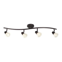 Galaxy / Excel Lighting - Four-Light Fixed Track Light - 753714-OBZ/MB - Contemporary / modern old bronze 4-light directional spot light. Contemporary in style, this four-light track light has adjustable heads to shine the light wherever you need it to go. It can be mounted on either the ceiling or the wall. Takes (4) 50-watt halogen MR-16 bulb(s). Bulb(s) sold separately. Dry location rated.
