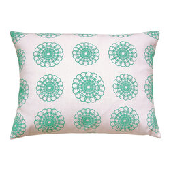 "artgoodies - Doily Pattern Pillow - A cute accent pillow for your couch, chair, or bed and the perfect travel companion! An original hand carved block print has been made into a repeating pattern, then hand printed and sewn into a removable pillow sham just for you! Pillow insert included! Measures  12"" x 16""."