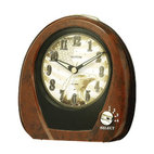 "Rhythm Clocks - 5"" x 5"" American Morning Musical Clock Oak - Be proud to wake up to an ""American Morning"". Keep this alarm near your bedside to wake to one of 4 patriotic melodies. Quartz clock is battery operated."