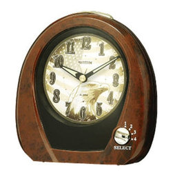 """Rhythm Clocks - 5"""" x 5"""" American Morning Musical Clock Oak - Be proud to wake up to an """"American Morning"""". Keep this alarm near your bedside to wake to one of 4 patriotic melodies. Quartz clock is battery operated."""