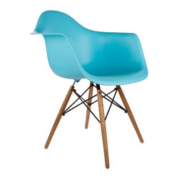 "Montmartre Arm Chair in Aqua - Some designs were ahead of their time. Considered the chair of tomorrow both for its design and its innovative single-mold manufacturing process, the Montmarte Arm Chair is inspired by one of the most iconic mid-century furniture designs. Created in the spirit of economy and affordability, its unique shape was designed to spread the sitter's weight and pressure evenly. The deep seat and waterfall edge provide additional comfort as the design shapes itself around the body's curves, while its ashwood dowel legs add a classic touch. If you've done away with formality in your home, the Montmarte Arm Chair is that one piece of furniture that exemplifies the ""less is more"" ethos. It's the ultimate seat that goes well in a variety of different settings: as a home office chair, an entryway slipper seat, or a statement piece in the living room."