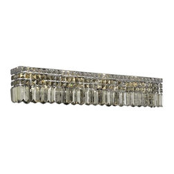 PWG Lighting - Chantal 8-Light Crystal Vanity Fixture 1728W36C-GT-RC - The unique design of the Chantal Collection inspires any room setting. Dazzling spectacles of light sparkles throughout the fixture creating a modern, yet timeless beauty and elegance.