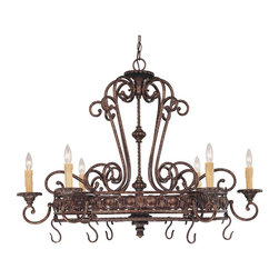 Savoy House - Savoy House 1P-50039-6-56 Rowen Six Light Pot RackTuscan Iron Collection - Rowen is a beautiful collection from Savoy House that has graceful scrolls, a rich New Tortoise Shell finish and Cream Excavated Glass.