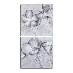"""Uttermost - Hand Painted Canvas 30""""W X 30""""H Impressionist Paintings  Set of 2 - Hand Painted Canvas 30""""W X 30""""H Impressionist Paintings  Set of 2"""
