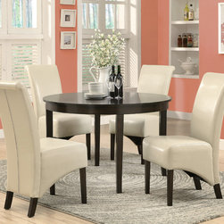 Monarch Specialties - Monarch Specialties 1740-1777TP 5 Piece Round Dining Room Set in Dark Espresso - This dining table offers rich design and transitional styling that invites a relaxed setting into your home. Finished in a dark espresso  this clean lined 48 round dining table will create the perfect look for intimate dinners or casual get togethers. This piece features thick block legs and a large eating area to accommodate all your friends.