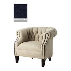 Home Decorators Collection - Custom Tufted Barrel Armchair - Our Custom Tufted Barrel Armchair is a comfortable addition to your living space and is a seat where conversation will readily occur. The barrel back and intricate tufting complete the look. Select from a wide range of beautiful custom upholstery options. Assembled to order in the USA and delivered in approximately 8-10 weeks.