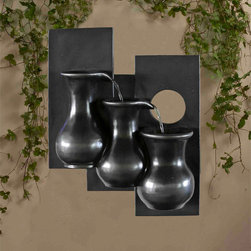 None - Three Jugs Gunmetal Hanging Wall Fountain - This sleek wall fountain will add the tranquil sound of water flow throughout your home. Featuring three jugs in a gunmetal finish, water flows from the top rug downward through the series.