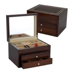 Reed & Barton Mother of Pearl Jewelry Box - 12.5W x 8H in. - A dark cherry finish on the Mother ...