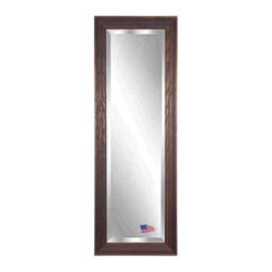 Rayne Mirrors - American Made Barnwood Brown 26.25 x 64.25 Full Body Beveled Mirror - This tall mirror is naturally distressed and beautiful with a carved wood texture.  Its dark brown and cinnamon color scheme will add a warm country charm to any space. Each Rayne mirror is hand crafted and made to order with American products.  All hardware included for vertical or horizontal hanging, or perfect to lean against a wall.