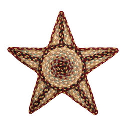 Earth Rugs - C-357 Burgundy/Gray/Creme Star Shaped Trivet 19in.x19in. - Burgundy/Gray/Creme Star Shaped Trivet 19 in. x19 in.