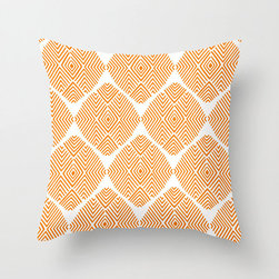 Diamond Illusion Pillow Cover in Orange - Refresh your sofa with this thoroughly contemporary poplin pillow cover. A little bit of geometry and a lot of color in a cheery graphic are sure to give just the effect you've been looking for!