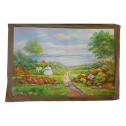 Golden Lotus - Oil Paint Canvas Art Countryside Scenery Wall Decor - This is an art work of Chinese art students. Oil painting on canvas.  ( ship in roll, no frame )