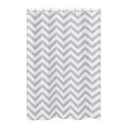 Sweet Jojo Designs - Sweet Jojo Designs Grey/ White Chevron Zigzag Shower Curtain - Add a touch of style to your bathroom with the Sweet Jojo Designs chevron shower curtain in a grey and white finish. This brushed microfiber curtain is machine washable for repeated use and convenience.