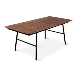 Gus - School Table, Walnut - The School Table is an elegant and functional design with a no-nonsense, utilitarian aesthetic. The black, powder-coated steel legs are slightly splayed for stability and style. The exposed ply top is available in walnut or natural oak finish. This table pairs perfectly with our School Chairs.