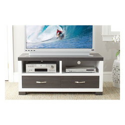 Safavieh - Safavieh Monroe Storage Dark Gray Two-Drawer MDF TV Cabinet - Bring modern,natural style into the media room with the Monroe two-drawer TV cabinet.