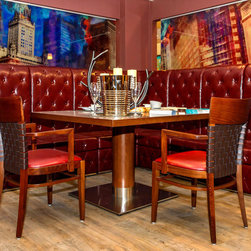 Custom Made Furniture - Modern modular high back seating used to create dining area, with high quality leather with matching buttons creating a very powerful look.