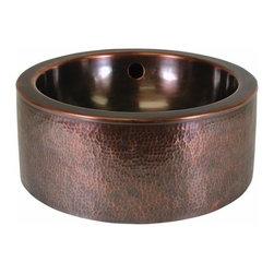 The Copper Factory - Copper Factory Hammered Copper Round Vessel Sink Apron Antique Copper - Copper Factory Hammered Copper Round Vessel Sink Apron Antique Copper