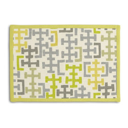 Gray & Citron Modern Cross Motif Tailored Placemat Set - Class up your table's act with a set of Tailored Placemats finished with a contemporary contrast border. So pretty you'll want to leave them out well beyond dinner time! We love it in this gray & chartreuse modern geometric in mediumweight cotton.  this may just sum up what your living space is missing.