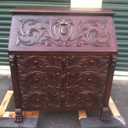 Antique Tigar Oak Secretary-French-1800s - Beautiful Tigar Oak Secretary from 1800s, French carvings. Ton of detail. Lion heads, and lion paws for feet. This is a very unique and one of a kind item. Solid tigar oak.