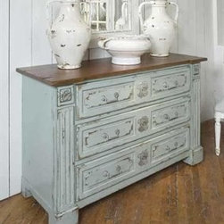 """Habersham - Habersham Hawthorne Three-Drawer Chest - It all started in the small North Georgia town of Clarkesville. It was 1969 and Habersham founder Joyce Eddy had just been given the chance to operate a small antique shop located above an old laundromat. This was just the opportunity a woman of Joyce's vision and energy would turn into the perfect blend of utility artistry and soul. Looking for ways to make her antique business more profitable she began crafting small decorative purses from vintage wooden cigar boxes. They were totally unique and they were an instant hit. Joyce named her new venture Habersham Plantation after Georgia's Habersham County and the plantations for which the area was known. The ideas just kept coming. One day Joyce was driving by a local textile company and spotted a large pile of old discarded wooden spools. Those spools were soon crafted into candleholders towel racks and folk art items. With the help of her sons and other family members Joyce expanded Habersham's offerings to include handcrafted furniture reflecting the American Country designs of the early 17th and 18th centuries. As word spread and production demands grew Joyce enlisted the help of woodworkers from her North Georgia region. This area had been a center for cabinetmaking since the early 1800s and the master craftsmen were well-schooled in the time-tested woodworking and joinery techniques that matched Joyce's sense of style and function. She even designed her factory to work just as the 18th century cabinetmakers did with individual artisans hand-finishing signing and dating each piece of furniture they crafted. Today Habersham still leads the way in the fine art of furniture design. So much so that in addition to their product line a new """"whole home"""" concept is finding its way into some of the finest dwellings in the country. Custom kitchen bath and other cabinetry designs offer rich opulent finishes and blend seamlessly with rooms of casual elegance all enhancing """