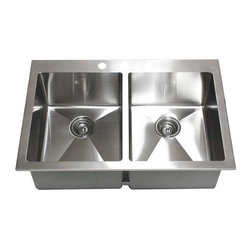 """Ariel - 33 Inch Top-Mount / Drop-In Stainless Steel Double Bowl Kitchen Sink - Crafted from 16-gauge stainless steel, this drop-in sink features a 15mm radius design and double bowls for food preparation and cleaning. Dimensions 33"""" x 22"""" x 10""""."""