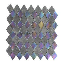 "Geological Diamond Black Slate & Rainbow Black Glass Tiles - Geological Diamond Black Slate + Rainbow Black Glass This striking diamond design has a combination of black slate and metallic iridescent rainbow black glass. These tiles are mesh mounted and will bring a sleek and contemporary clean design to any room. Chip Size: 7/8"" x 1/4"" Color: Black and Metallic Iridescent Rainbow Black Material: Slate and Glass Finish: Polished and Frosted Sold by the Sheet - each sheet measures 10""x10 1/2"" Thickness: 8mm"