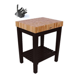 John Boos - John Boos CU-CB3024S-BK Single-shelf Black Butcher Block Table (30x24 inch) with - This table butcher block from John Boos features a durable maple wood construction that is sure to update any kitchen setting. This butcher block table also offers a single-shelf design,a black base finish,and includes a bonus cutting board.