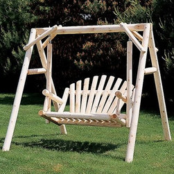 Rustic Natural Cedar Furniture American Garden 5-ft. Log Porch Swing and Stand S - Enhance your yard with the natural beauty of the white northern cedar wood constructed 5-ft. American Garden Swing and Stand Set. This classic swing features a log-based A-frame with an Adirondack-style swimming bench. This sturdy swing is capable of holding two to three people comfortably. The natural cedar wood can be stained or varnished but on its own it is naturally pest-resistant and will age beautifully over years of outdoor use. Made in Canada. About Rustic Natural Cedar Furniture Co.Rustic Natural Cedar Furniture Company has been manufacturing quality cedar products for your home and garden for over 30 years. Their broad variety of products include bedroom sets tables and seating groups gliders rockers swings arbors and more. Their fine furnishings are handcrafted in Quebec and British Columbia then shipped worldwide for your enjoyment. The Rustic Natural brand is their promise. When you see this brand you know you're getting superior quality and the strength of natural cedar. Nothing equals the sturdy construction and sanded finish of their quality products. Long-lasting good looks and low maintenance makes cedar the natural choice for your home and garden. Thanks to its added benefits of beauty and comfort cedar is an ideal choice for any setting.