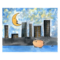 Oh How Cute Kids by Serena Bowman - Moon over My Hami, Ready To Hang Canvas Kid's Wall Decor, 20 X 24 - Each kid is unique in his/her own way, so why shouldn't their wall decor be as well! With our extensive selection of canvas wall art for kids, from princesses to spaceships, from cowboys to traveling girls, we'll help you find that perfect piece for your special one.  Or you can fill the entire room with our imaginative art; every canvas is part of a coordinated series, an easy way to provide a complete and unified look for any room.