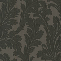 Black & Grey Leafed  Wallpaper - Give your walls a traditional look with a modern flare with wallpaper from the Regent Collection by Brewster.