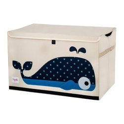 3 Sprouts - 3 Sprouts Toy Chest, Whale - Our 3 Sprouts blue toy chest in cute whale pattern is the perfect organizational tool for any room. With sides reinforced by cardboard our toy chest stands at attention even when empty and the lid keeps all toys out of sight. Large enough to hold whatever you throw in it, this toy chest adds a pop of fun to every room.