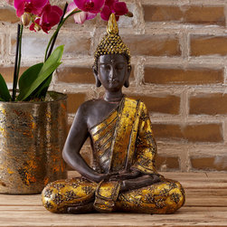 "Tozai - Meditating Buddha Statue - The Meditation Buddha statue's poised pose invites relaxation and reflection. Wearing elegant gold leaf apparel, this burnished resin decor exudes globally-inspired style. 11.5""W x 5.25""D x 15.75""H"