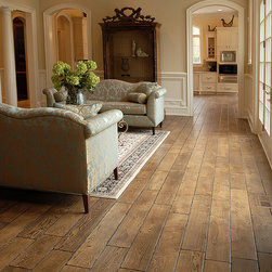 """Private Residences - Tuscany™ Collection 6-3/4"""" (17 cm) wide, Vintage French Oak hardwood floor, smooth face, hand beveled, hand distressed, dyed and stained in custom color, site finished with German made, water-based Pallmann Pall-X96 Semi-Gloss finish."""