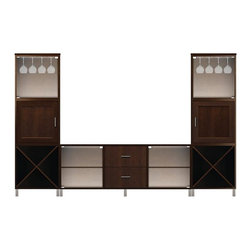 Howard Miller Custom - Owen Cabinet w 4 Glass Doors in Espresso - This cabinet is finished in Espresso on select Hardwoods and Veneers, with Nickel hardware. Console:. 2 Glass doors without frame. 2 flat panel drawers and 2 adjustable interior shelves. Tower:. 2 insert panel doors and 2 Glass doors without frame. 2 cross storage shelves. Flat profile top and metal leg base. Hardware: bar pulls on doors and drawers. Features soft-close doors, metal drawer glides, and metal shelf clips. Simple assembly required. Console: 70 1/4 in. W x 21 3/4 in. D x 29 in. H. 24 in. W x 15 3/4 in. D x 76 3/4 in. H