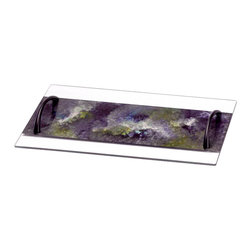 Glass Serving Tray with Metal Handles, Large, Lavender Field - This stunning hand-made glass tray has metal handles on each side to enhance the serving allure. The tray can be used to serve a variety of foods, as a center piece on your dining table, or on you vanity with perfume and other items. Seen here in large.