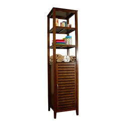 Proman Products - Proman Products Spa Bath Tower with Cabinet Door in Light Walnut - Spa bath tower with cabinet door, MDF with light walnut finish, one adjustable and 3 fixed shelves. Slatted door.