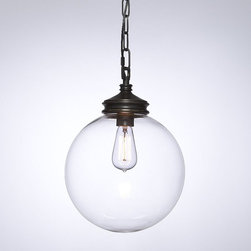 "Calhoun Glass Pendant | Pottery Barn - A pendant light can look great in an entryway. I prefer the ones that have chains so you can easily set them to the best height for your place. This one looks fabulous with a filament light bulb for some drama.Dimensions: 16.5""H x 12"" diam. Chain is 12' long."