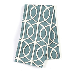 Aqua Modern Trellis Custom Napkin Set - Our Custom Napkins are sure to round out the perfect table setting'whether you're looking to liven up the kitchen or wow your next dinner party. We love it in this rounded trellis in dark aqua & white on soft lightweight line. your gateway to a chic modern look.