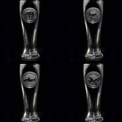 """Crystal Imagery, Inc. - Deer, Bear, Duck, Fish Engraved Pilsner Glasses, Beer Glass - Woodlands Animals Pilsner Glasses. Engraved nature lover pilsner glass beer glass set includes bear, deer, fish and duck and is a great gift idea for the man or woman who loves animals, hunting, fishing and the great outdoors. Deeply carved using our sand carving technique, each pilsner glass is meticulously custom made to order making it the perfect gift for those seeking unique gift ideas for the beer lover, men and women alike.  Seeking a gift for your mountain retreat, lodge or cabin? This wildlife set would be ideal. This pilsner beer glass set is also perfect for the man cave or basement bar.  8.5"""" high by 3"""" wide, our custom pilsner beer glass holds a hearty 16 oz. of your favorite brew. Made in the USA."""
